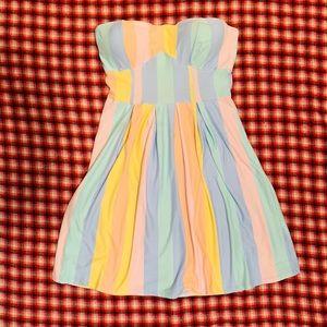 Derek Heart Pastel Stripe Strapless Dress Sz L